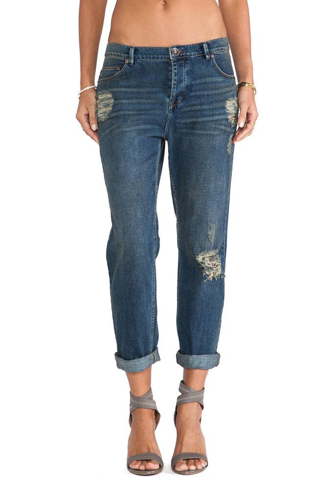 Free People 128 Lotus Destroyed Low Rise Boyfriend Jeans 26 Ebay