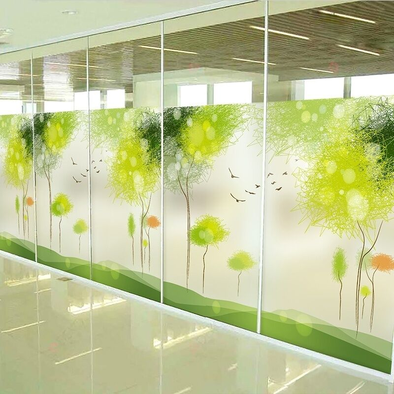 Reusable Green Trees Static Glass Sticker Frosted Window: getting stickers off glass