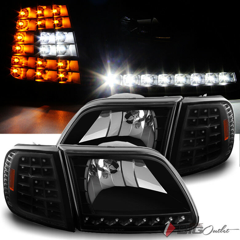 99 F150 Black: For 97-03 Ford F150 97-02 Expedition LED Headlights+LED