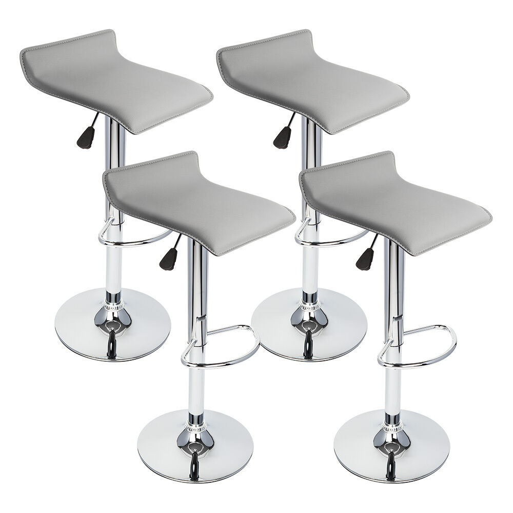 4 Pcs Gray Modern Adjustable Height Bar Stool Swivel Pub