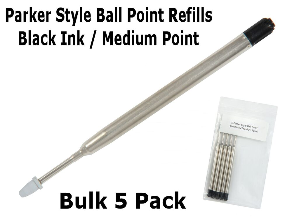 Bulk Pack Of 5 Parker Style Black Ink Medium Point Ink