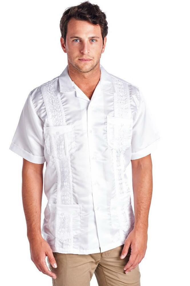 NEW MEN GUAYABERA CLASSIC CUBAN WEDDING BARTENDER CASUAL DRESS SATIN SHIRT WHITE