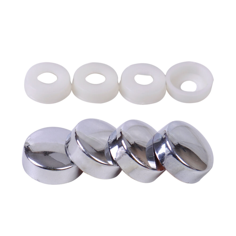4x Silver Car Truck Smooth Security Screw Cap Bolt Cover