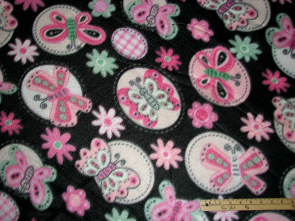 pink black butterfly fleece fabric by the yard bty ebay. Black Bedroom Furniture Sets. Home Design Ideas