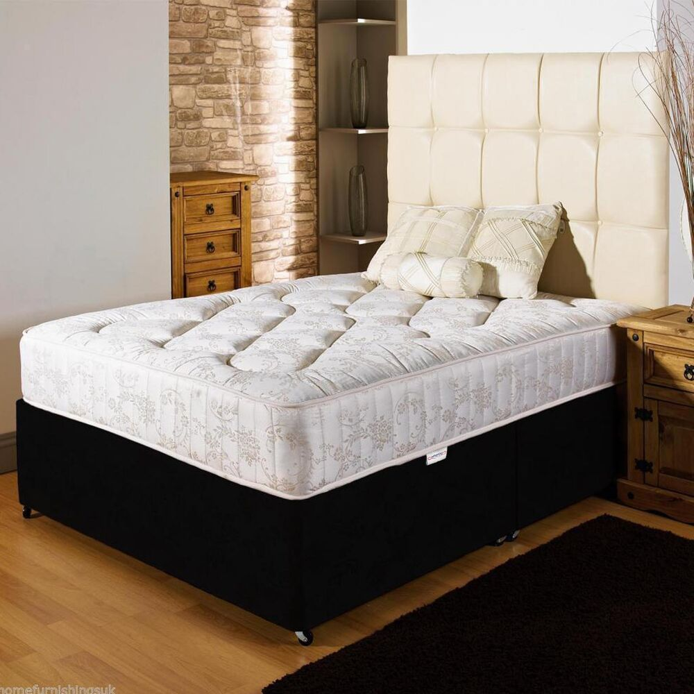 Orthopedic divan bed set mattress headboard size 3ft for Double divan bed set