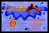 Spiderman Pool Party Personalized Photo Birthday Party Invitation