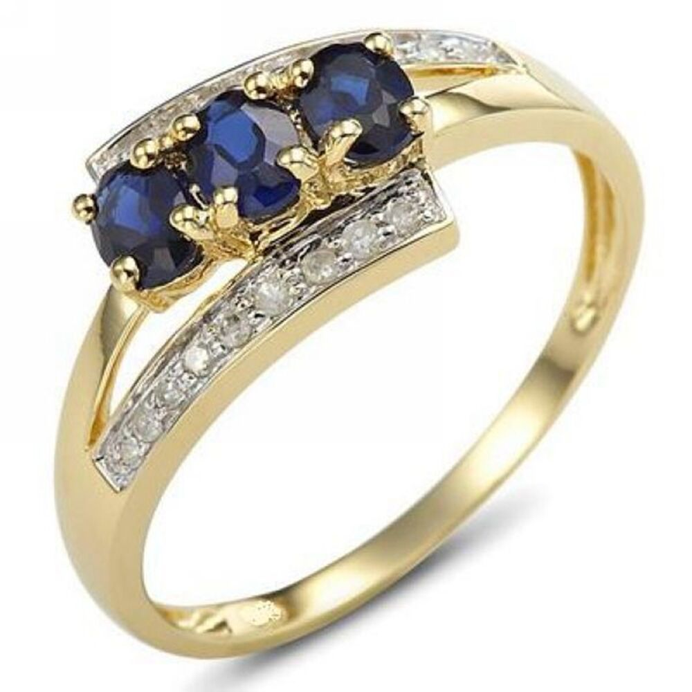 Size 6,7,8,9 Bridal Blue Sapphire 18K Gold Filled Womens ...