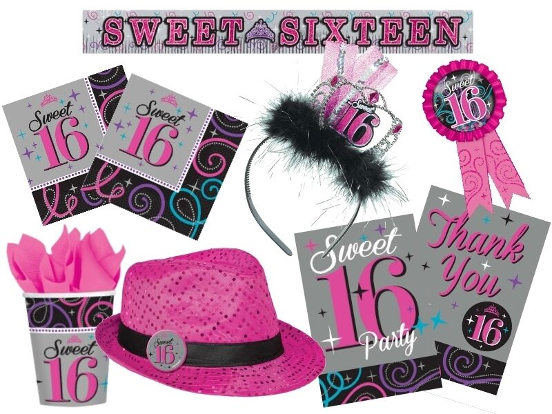 Sweet 16 birthday party tableware decorations amscan for 16th birthday decoration
