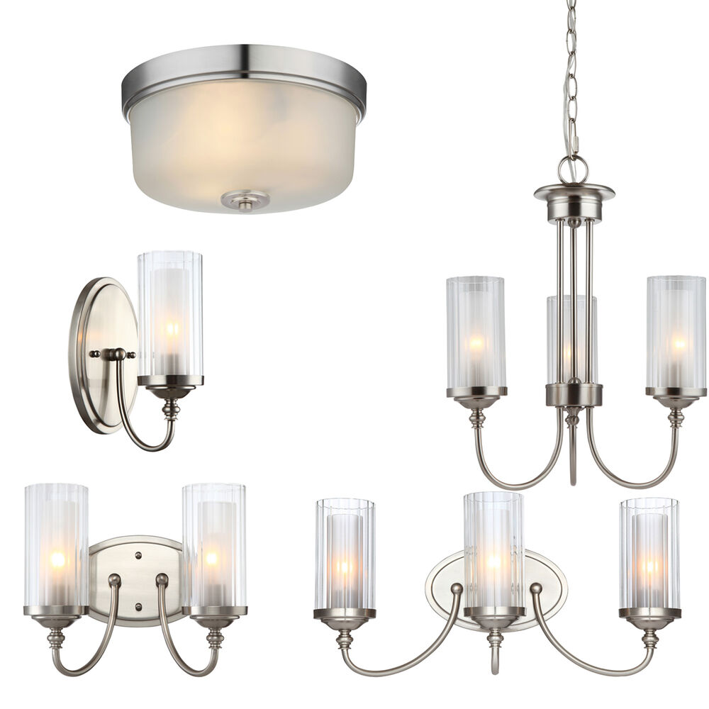Lexington Satin Nickel Bathroom Vanity, Ceiling Lights