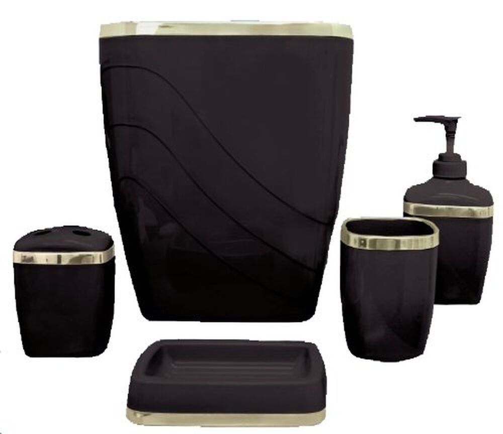 black and white bathroom set bathroom bath accessory set 5piece toothbrush holder soap 22731