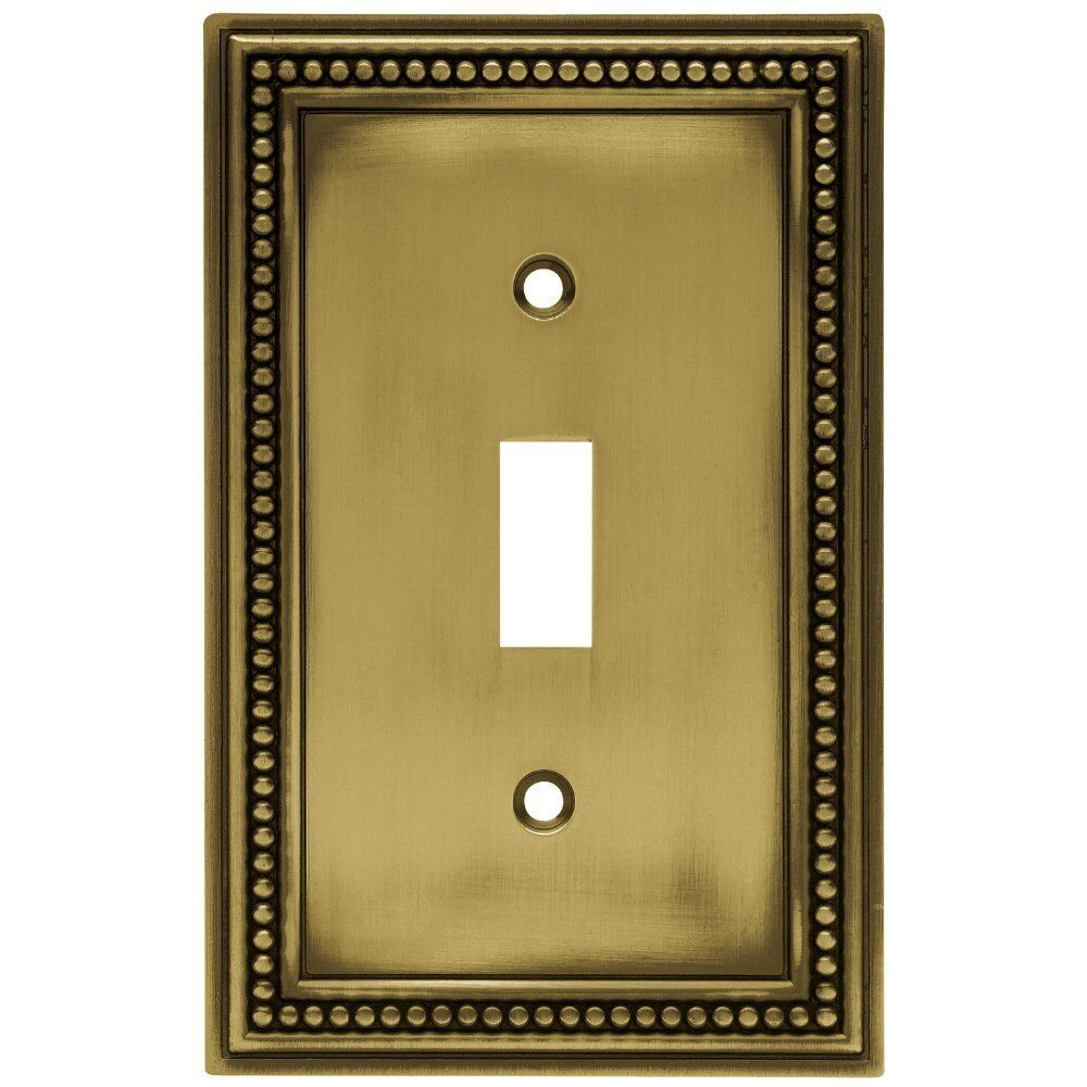 171904 Antique Brass Beaded Single Switch Cover Plate Ebay