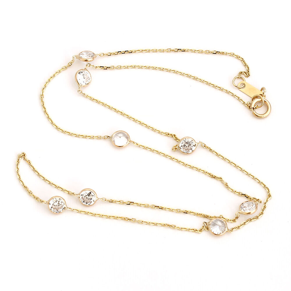 Bezet Set Cz By The Yard Cable Chain Necklace 14k Yellow