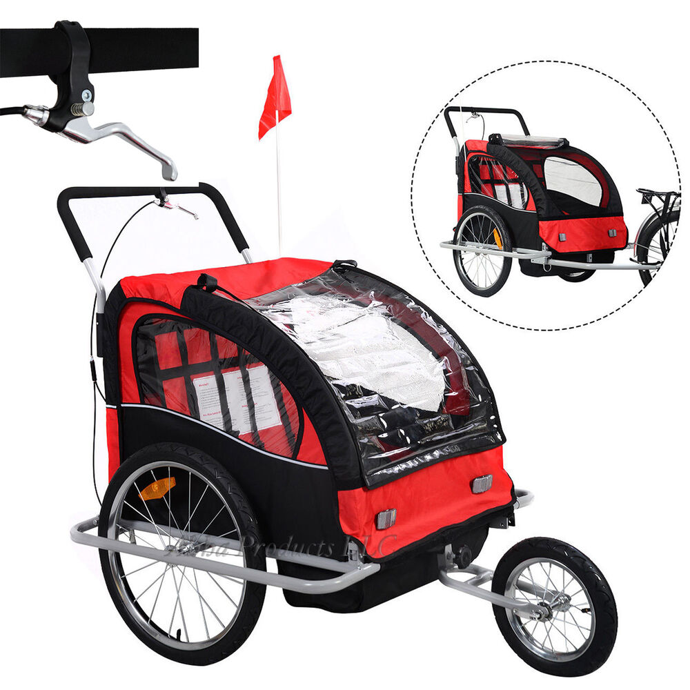 2in1 Kids Baby Child Bicycle Bike Trailer Carrier Jogging ...