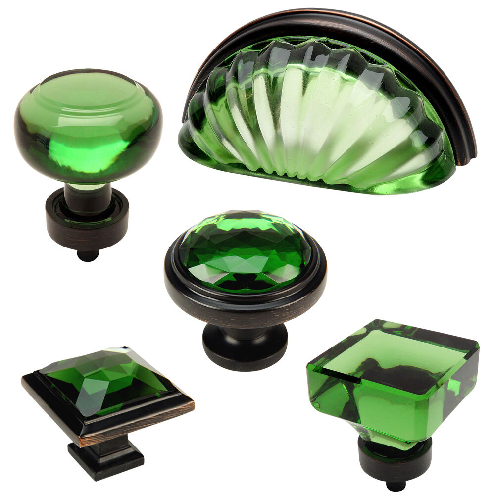Cosmas Emerald Oil Rubbed Bronze Glass Cabinet Knobs Cup
