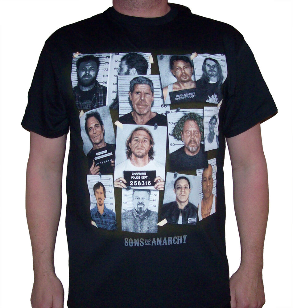 men 39 s sons of anarchy group mugshot t shirt new. Black Bedroom Furniture Sets. Home Design Ideas