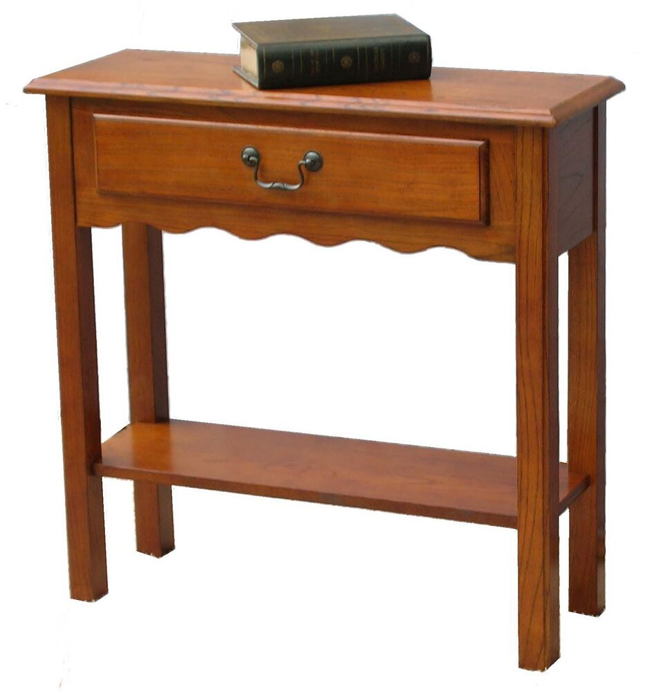 new small hall foyer console table stand drawer medium finish ebay. Black Bedroom Furniture Sets. Home Design Ideas