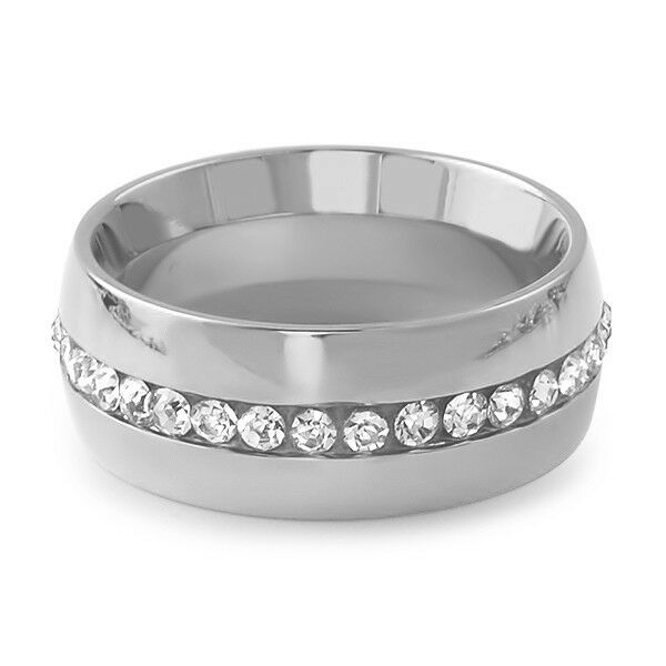 Stainless steel silver cz mens eternity ring wedding band for Mens eternity wedding band