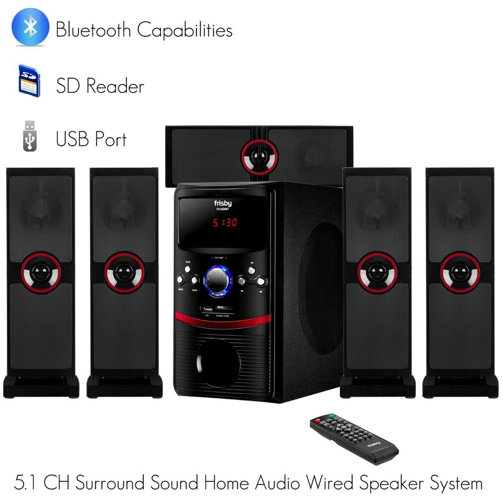 frisby 5 1 ch home theater system package w bluetooth sd. Black Bedroom Furniture Sets. Home Design Ideas