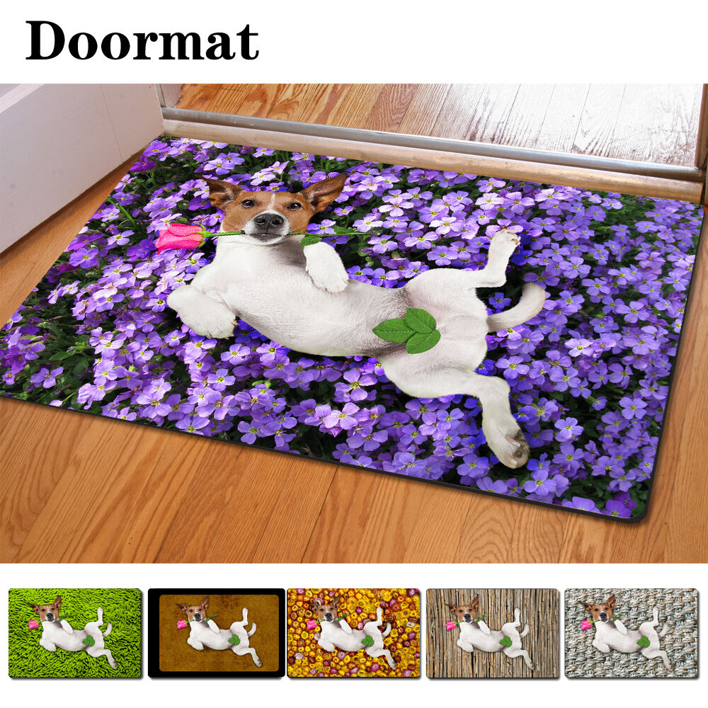 Funny Dogs Mat Rectangle Room Doormat Cute Floor Rug