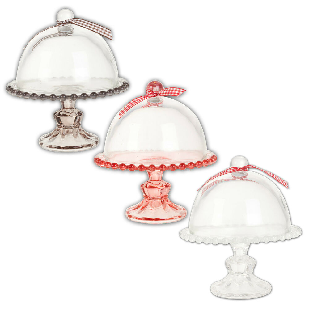 Trento Glass Mini Cloche Stand Cupcake Cake Pedestal Dome