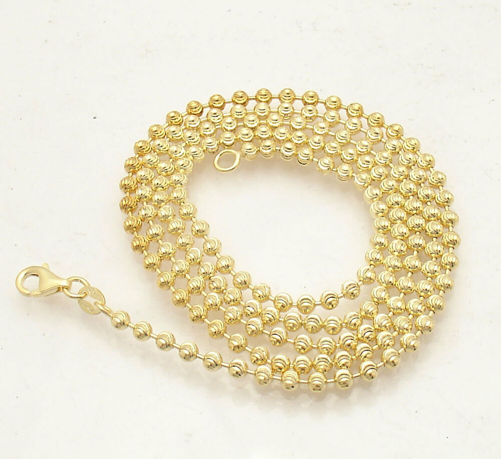 3mm moon cut bead chain necklace solid 14k yellow