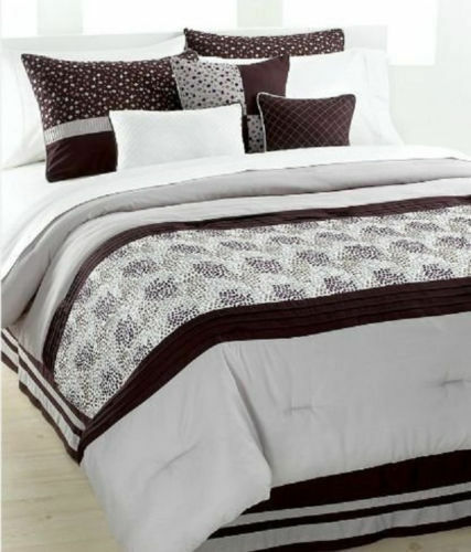 New 7pc king embroidered comforter set w shams santorini for King shams on queen bed