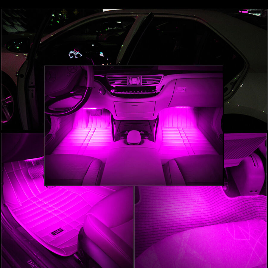 On off led car 4 in1 atmosphere decorative light pink glow interior ebay for Led car interior lights ebay