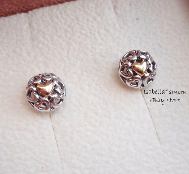 Pandora Silver Stud Earrings: MY ONE TRUE LOVE Authentic PANDORA Sterling Silver/14K