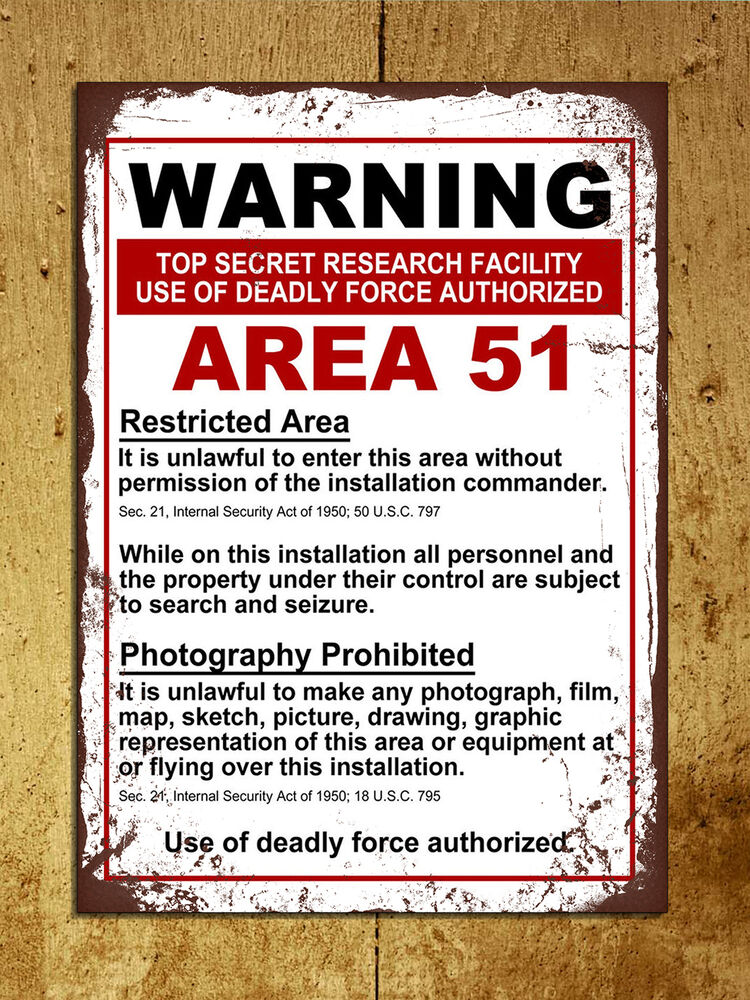 Vintage Retro Style Area 51 Warning Funny Metal Sign Tin