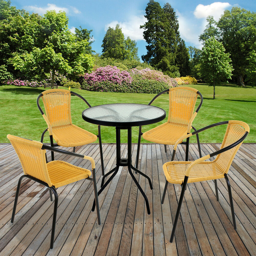 5 piece bistro set garden patio tan wicker rattan outdoor for Outdoor patio table set