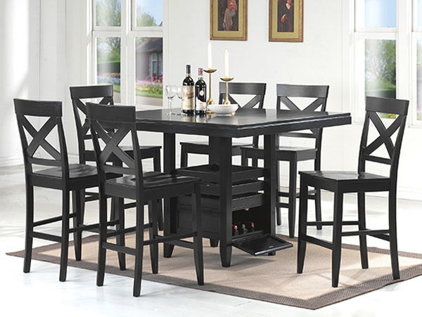 new 7pc dolan black finish wood counter height dining table set w wine storage ebay. Black Bedroom Furniture Sets. Home Design Ideas