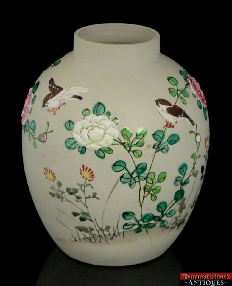 Japanese banko ware tan raised design enamel paint birds for Paint and pottery
