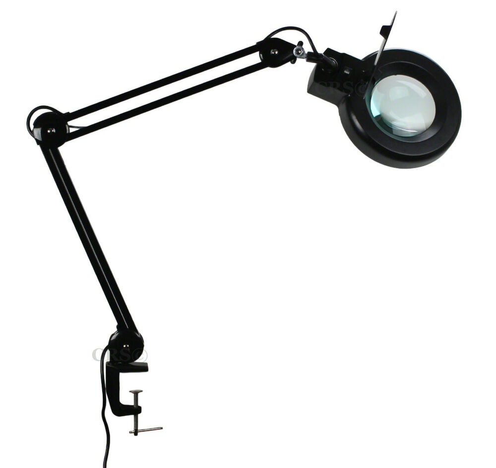 clamp mount magnifier lamp light magnifying glass lens diopter ebay. Black Bedroom Furniture Sets. Home Design Ideas