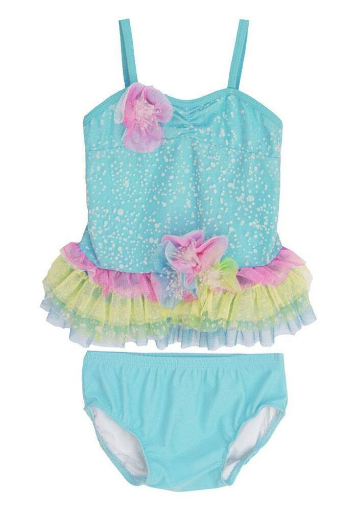 877aa4617 Details about New Baby Girls Boutique Isobella & Chloe sz 12m Aqua SEA SPRAY  Tankini Swimsuit