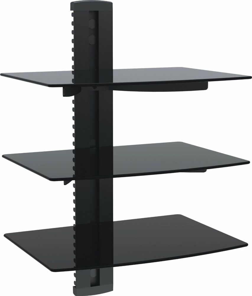 1home 3 tiers black floating shelves glass dvd players games consoles sky box 8683597659626 ebay
