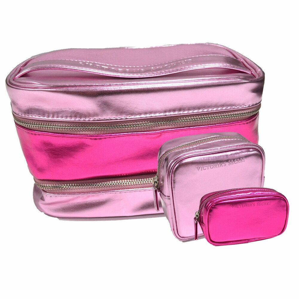 Victoria Secret Bag Piece Cosmetic Train Case Set Make
