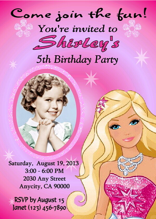 barbie custom printable birthday party invitation and free thank you card
