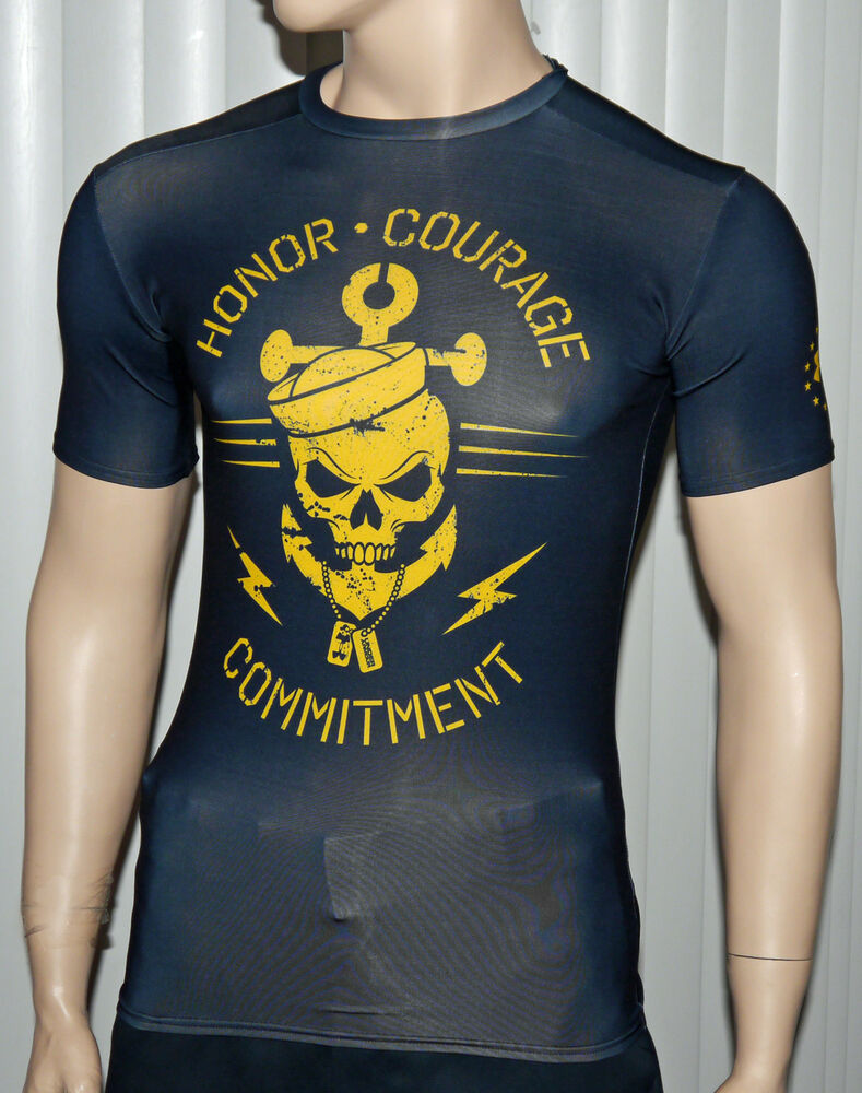 Under armour men 39 s ua freedom navy yellow compression for Yellow under armour long sleeve shirt