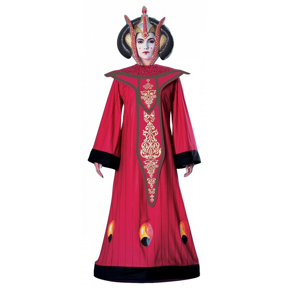 deluxe queen amidala costume star wars adult womens long red dress halloween ebay. Black Bedroom Furniture Sets. Home Design Ideas