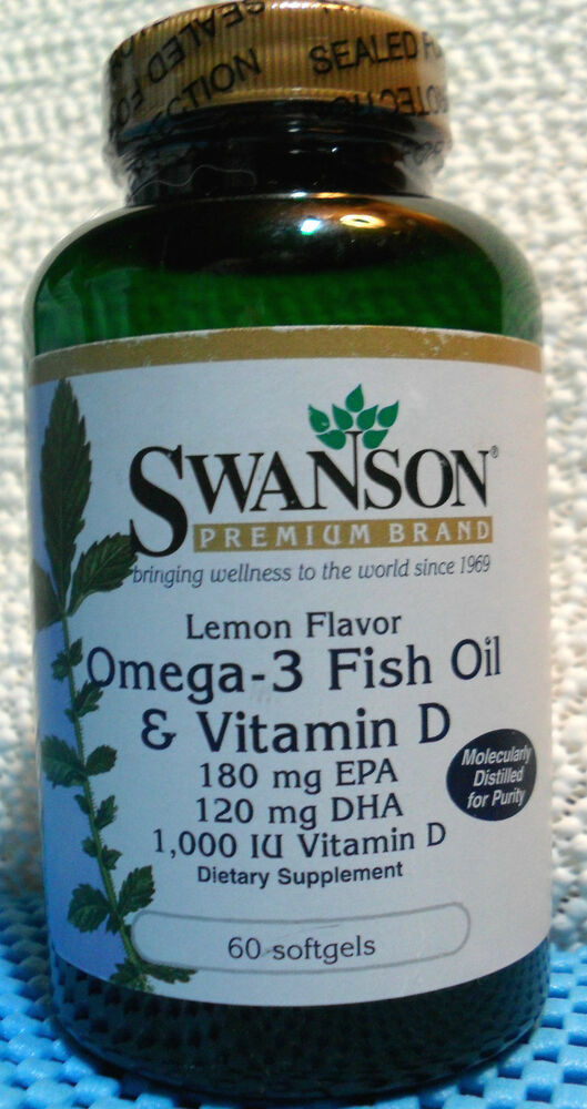 Swanson lemon flavored omega 3 fish oil vitamin d 60 for Vitamin d fish