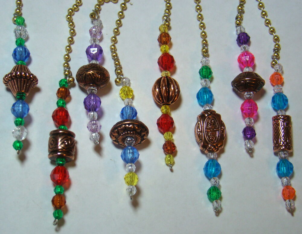 Assorted Colors Home Decor Ceiling Fan Light Chain Pulls W