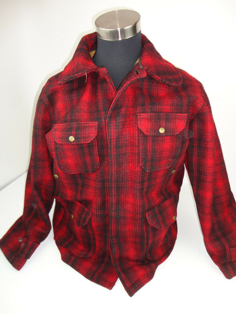 Vintage mens 42 woolrich wool coat hunting jacket buffalo for Mens red wool shirt