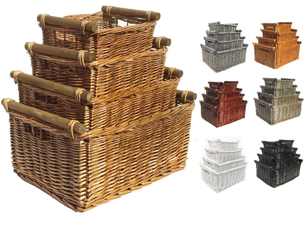 full wicker storage basket with handles kitchen log xmas gift hamper basket ebay. Black Bedroom Furniture Sets. Home Design Ideas