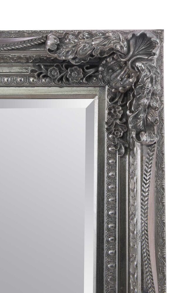 Large silver antique shabby chic ornate wall mirror 4ft1 x for 4 x 5 wall mirror