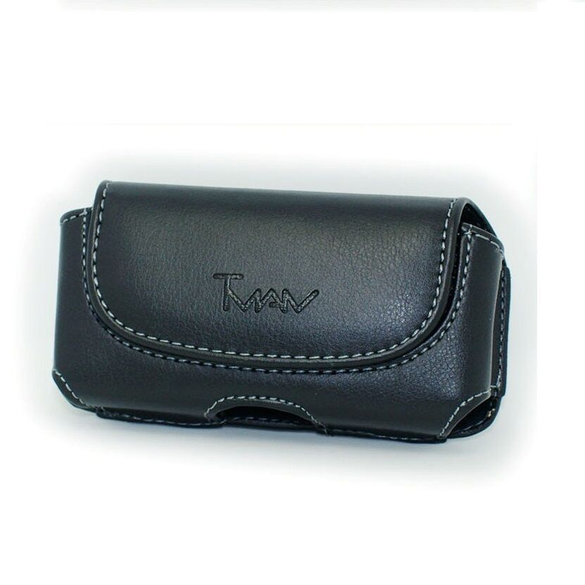 Black Horizontal Leather Case Holster Pouch For U.S. Cellular Kyocera ...