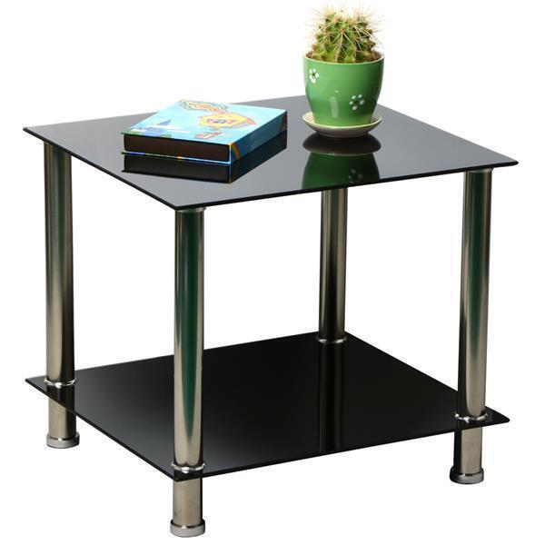 Black Glass Stainless Steel Small Display Stand Coffee