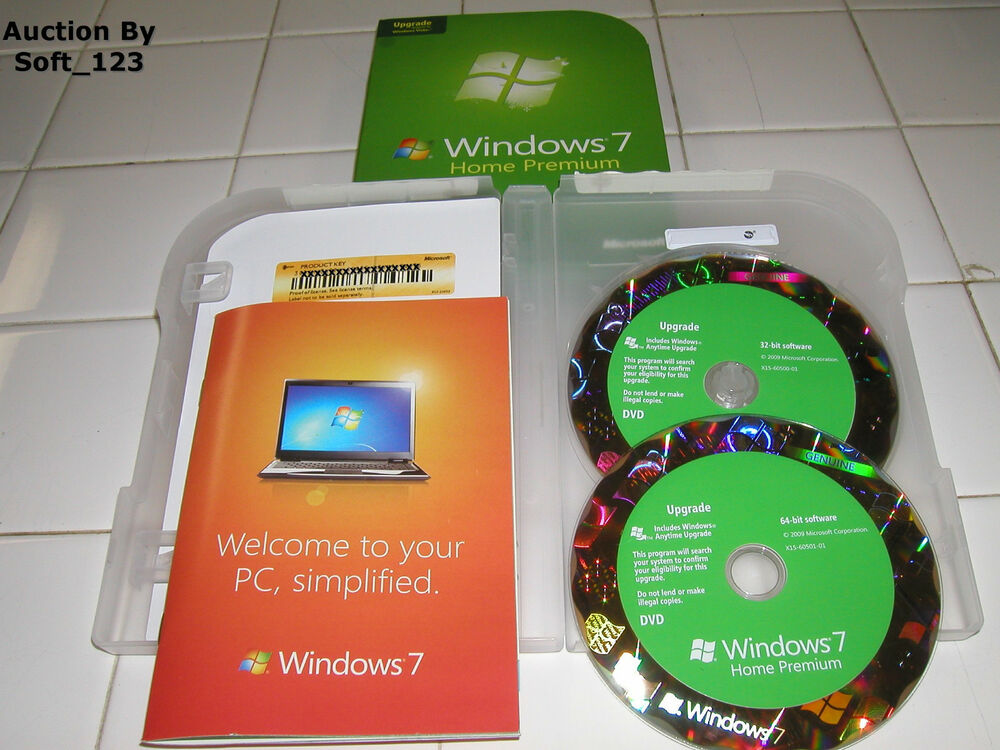 microsoft windows 7 home premium upgrade 32 bit and 64 bit dvds ms win new 882224883429 ebay. Black Bedroom Furniture Sets. Home Design Ideas