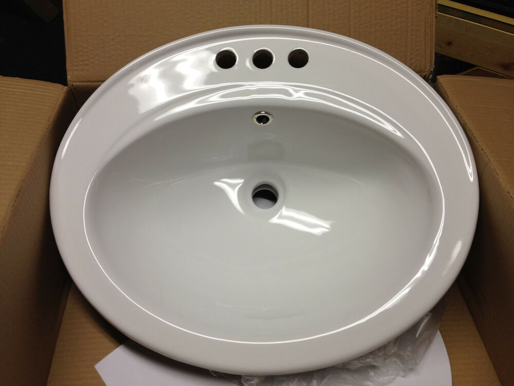 22 Quot White 3 Hole Top Mount Vanity Sink Ebay