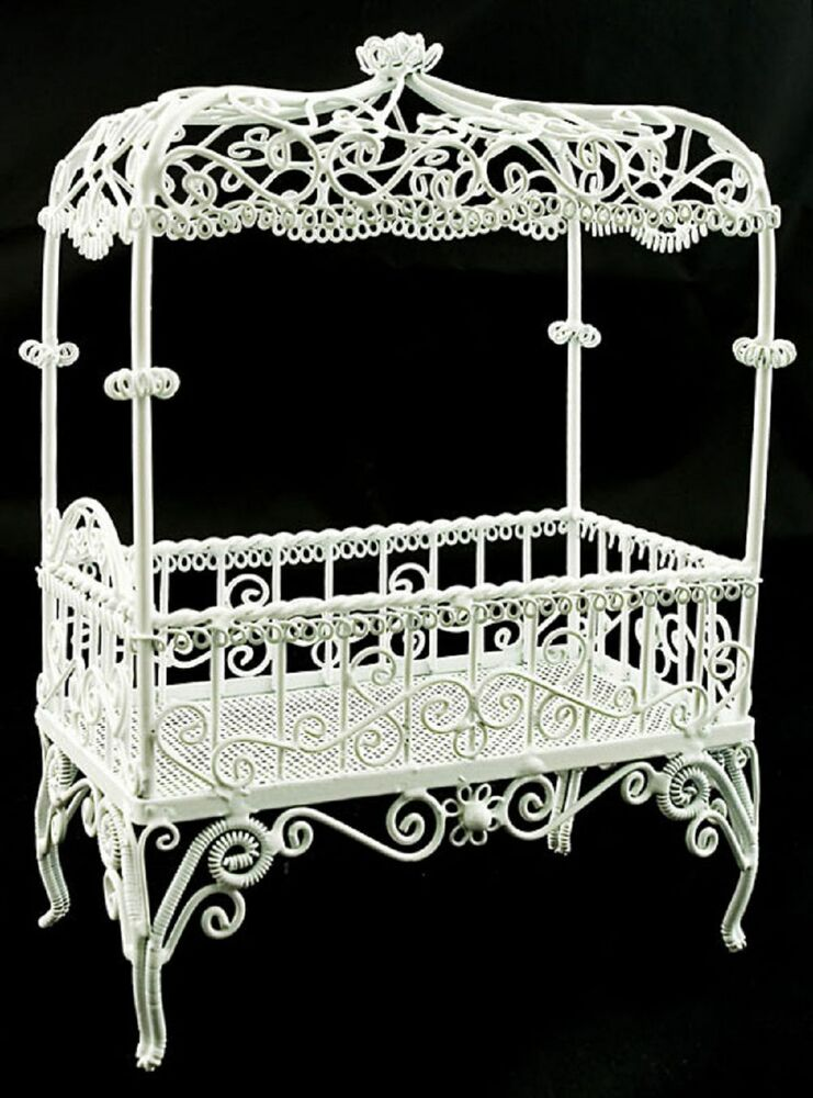 White Victorian Wire Bedroom Bed Canopy 1 12 Doll 39 S House Dollhouse Furniture Ebay