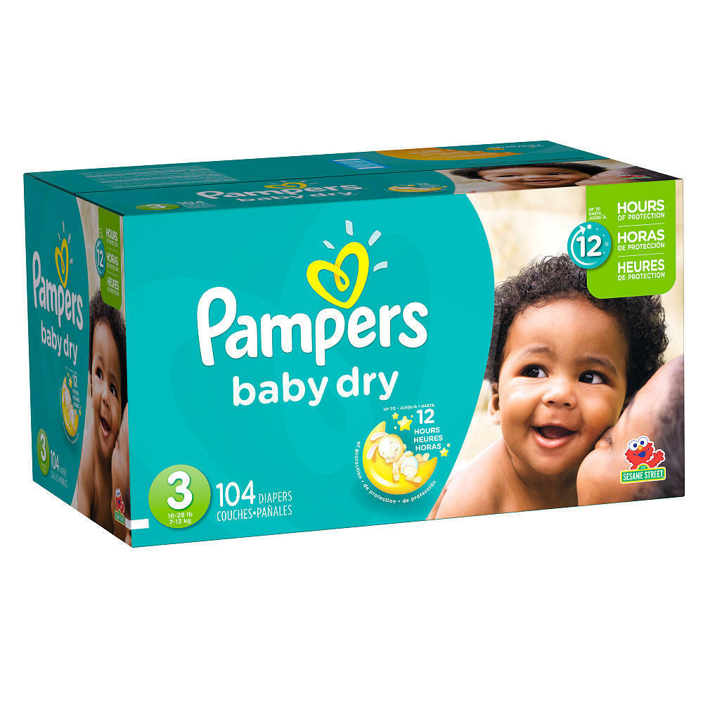 pampers baby dry size 3 diapers super pack 104 count ebay. Black Bedroom Furniture Sets. Home Design Ideas